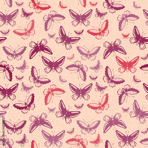 Seamless pattern with tropical butterflies silhouettes