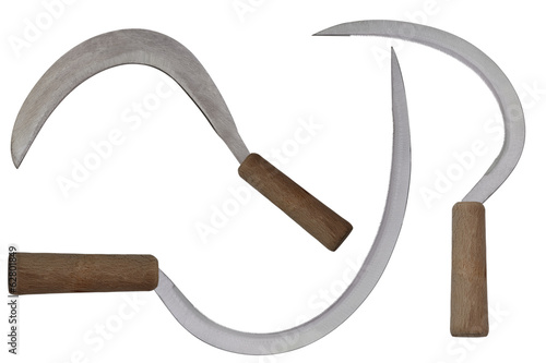Sickles isolated on white background