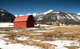 Red Barn Endures Mountain Winter Wallowa Whitman National Forest poster