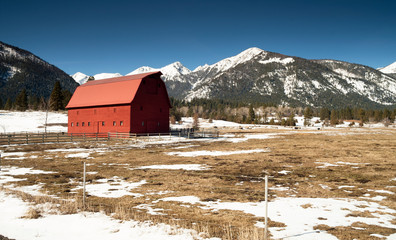 Red Barn Endures Mountain Winter Wallowa Whitman National Forest