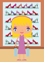 blond woman shopping fashion