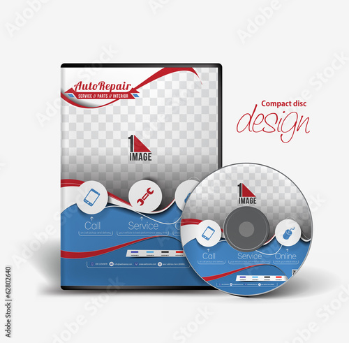 Auto Rapair DVD Case and Disc Vector Design
