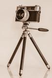 Fototapety sepia old camera on tripod