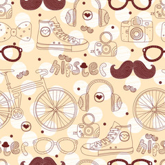 Hipster seamless pattern.
