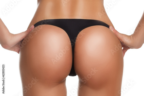ideal woman ass in thong. on a white background - 62803423