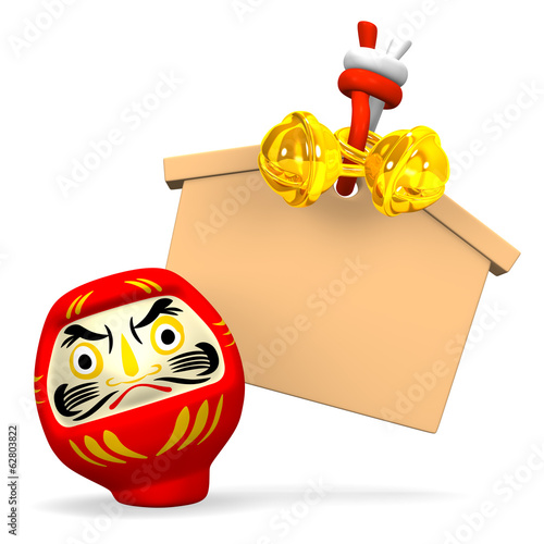 Front View Of Empty Votive Picture And Daruma Doll