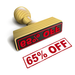 stamp 65% off with red text on white