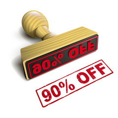 stamp 90% off with red text on white