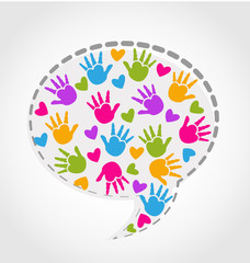 Speech hands and hearts logo vector