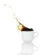 Pour coffee into cup with splash, isolated on white