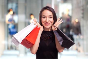 Shopping Girl with showcase background