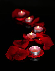 Beautiful rose petals with candle, on dark background