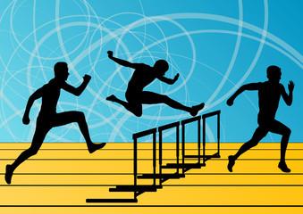 Active men sport athletics hurdles barrier running silhouettes i