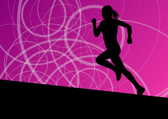 Active women sport athletics running silhouettes illustration ab