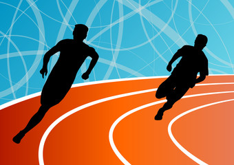 Active men runner sport athletics running silhouettes illustrati