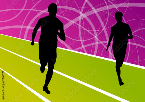 Active men runner sport athletics running silhouettes illustrati