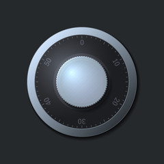 Combination lock wheel on dark background. Vector