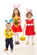 Obrazy na płótnie, fototapety, zdjęcia, fotoobrazy drukowane : Happy three brothers with Easter eggs