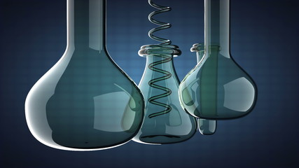 loop Laboratory glassware on blue background