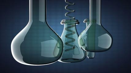 loop Laboratory glassware on blue background