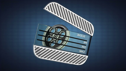 loop cinema clap on blue background