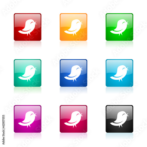twitter vector icons colorful set