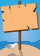 marine signboard and seagull bird