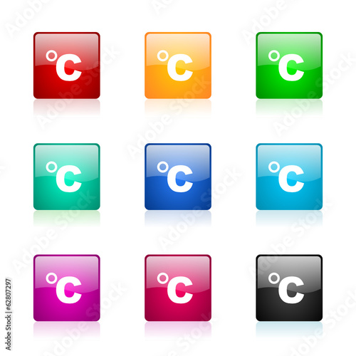 celsius vector icons colorful set