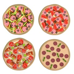 realistic 3d render of pizzas