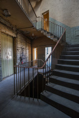 stairway in an abandoned textile mill