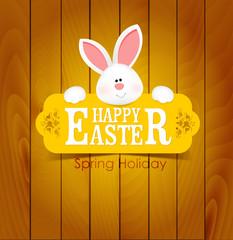 Easter wood postcard