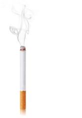 Cigarette burns. Isolated on white background
