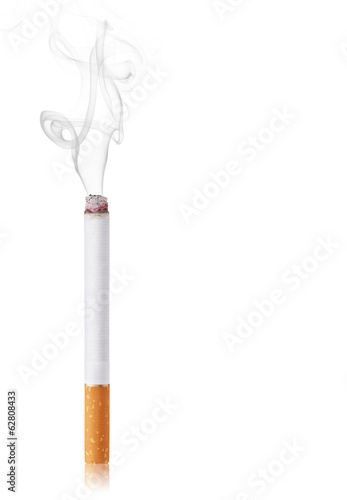 Cigarette burns. Isolated on white background