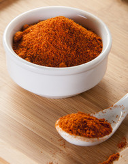 paprika spice on wooden background
