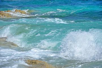 Waves crushing on a rocky beach