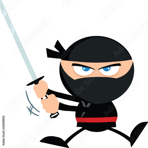 Angry Ninja Warrior Jumping With Katana.Flat Design