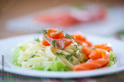 vermicelli with salted salmon and sauce
