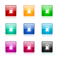 petrol vector icons colorful set