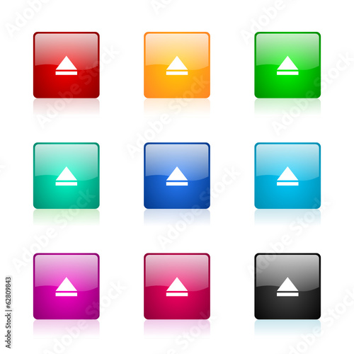 eject vector icons colorful set