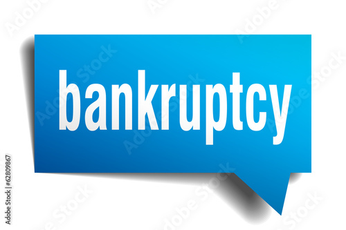 bankruptcy blue 3d realistic paper speech bubble