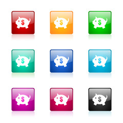 piggy bank vector icons colorful set