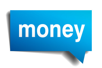 money blue 3d realistic paper speech bubble