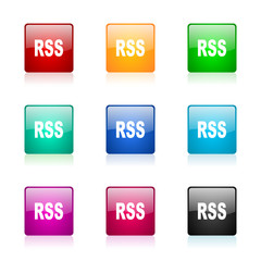 rss vector icons colorful set