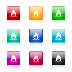 flame vector icons colorful set