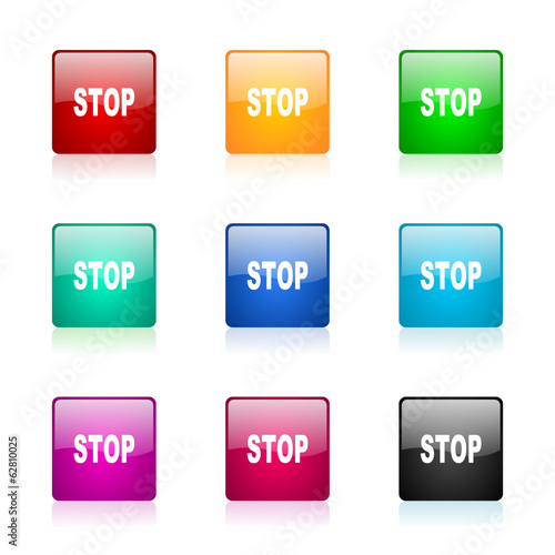 stop vector icons colorful set