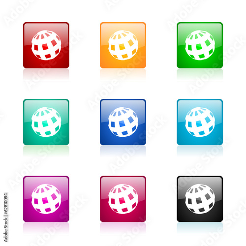 earth vector icons colorful set