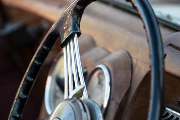 Shiny retro steering wheel