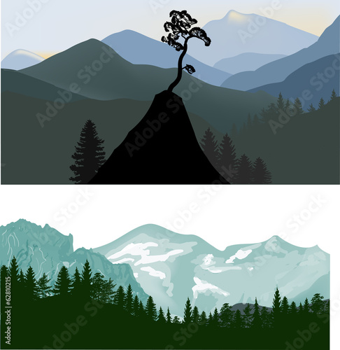 illustration with two mountain landscapes