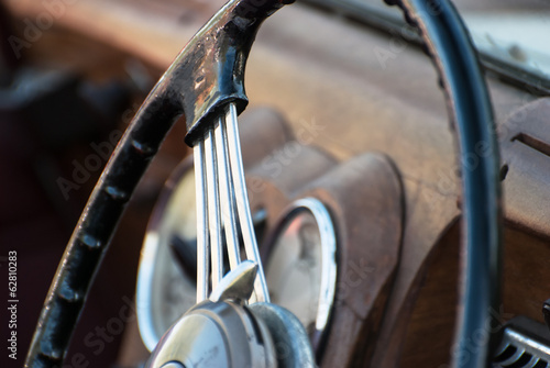 Shiny retro steering wheel