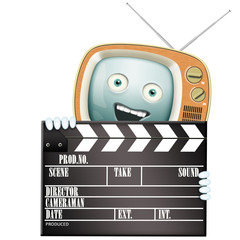 Funny retro TV and clapper, movies and series
